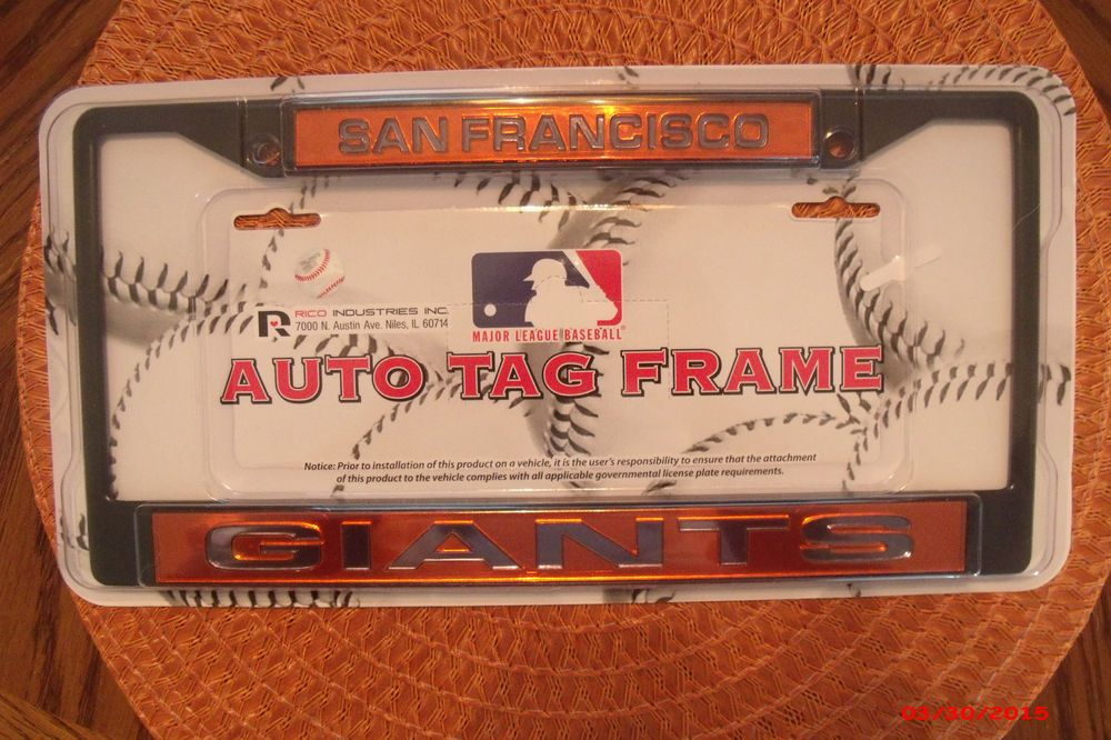 Mlb Official San Francisco Giants Black Auto License Plate Laser