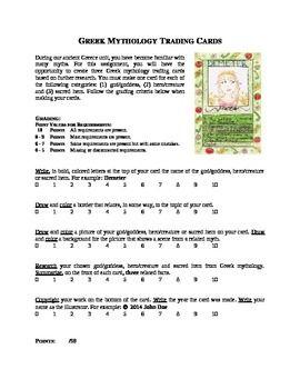 Greek Gods Trading Cards Greek Gods Greek And Roman Mythology 6th Grade Social Studies