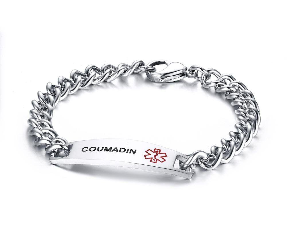 Vnox Coumadin Bracelet Stainless Steel Medical Alert Id For Uni 8 5