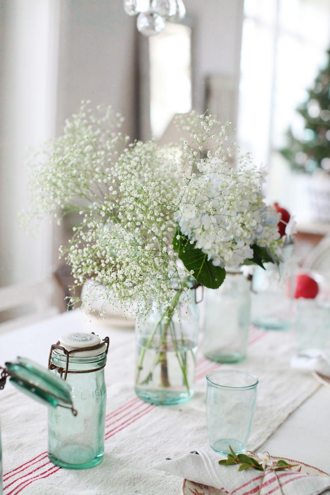 baby\'s breath and hydrangeas center piece | Wedding | Pinterest ...