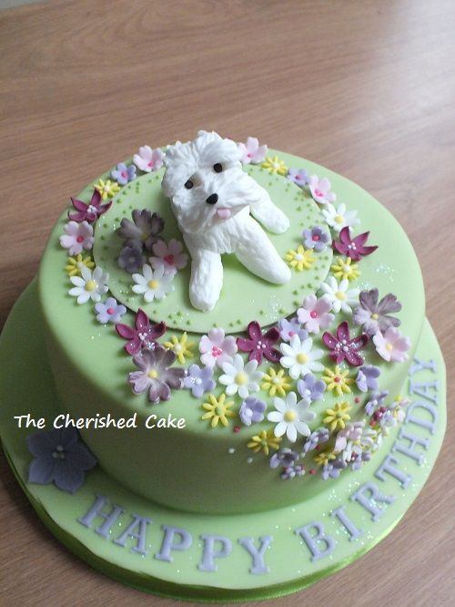 Birthday Cake with a dog and flowers httpswwwfacebookcom