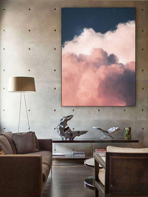 Cloud Painting Print, Cloud Print, Cloudscape Art Print, Large Wall ...