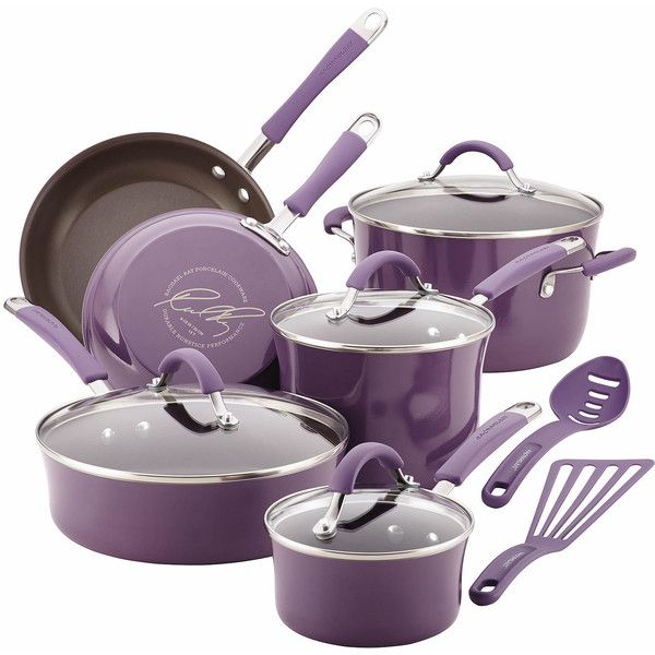 Rachael Ray Cucina 12-pc. Cookware Set (€270) ❤ liked on Polyvore featuring home, kitchen & dining, cookware, nonstick cookware, rachael ray saucepan, oven proof skillet, oven safe skillet and nonstick stock pot