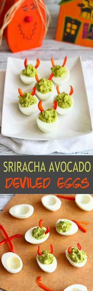 These mayo-less avocado deviled eggs are all dressed up for Halloween but are fantastic snacks or appetizers any old time. 52 calories and 1 Weight Watchers Freestyle SP | Healthy | No Mayo | Easy | Halloween | Best | Simple | Tasty #deviledeggs #weightwatchers #halloweendeviledeggs