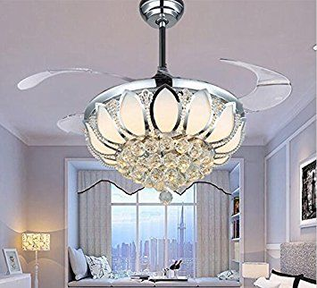 Modern Ceiling Fan Crystal Ventilador De Teto Remote Control With Lights Invisiable LED Folding Dining Room LampChina Mainland