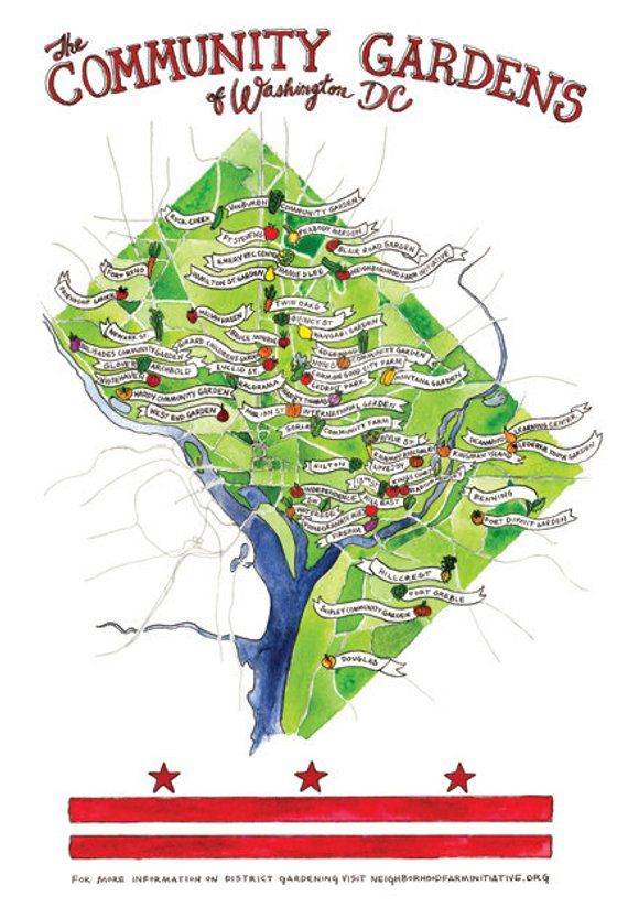 Washington, DC Community Gardens Map / Watercolor Print 9\