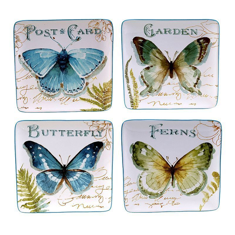 Certified International The Greenhouse Butterfly 4-pc. Dessert Plate Set, Multicolor