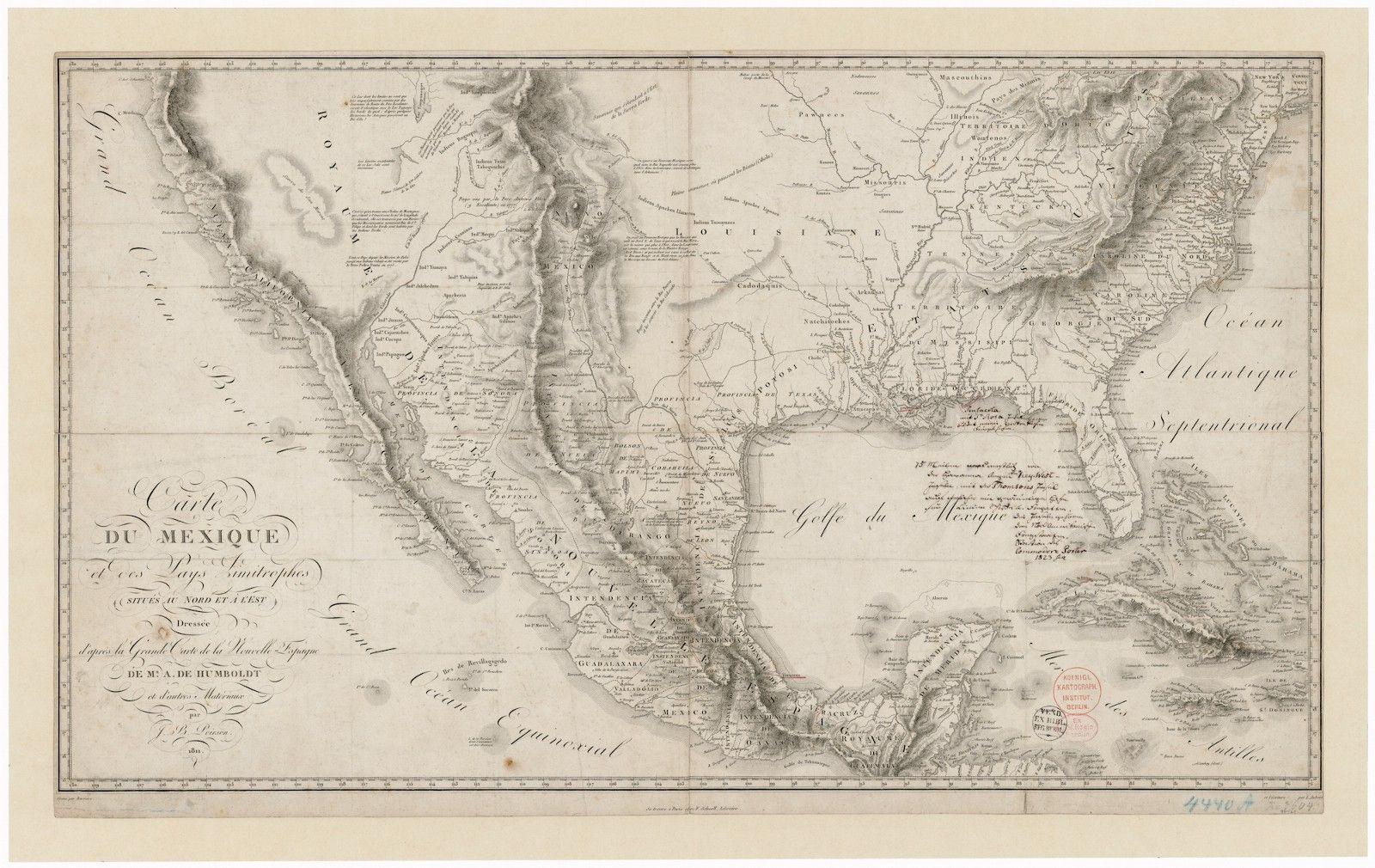 Carte Du Mexique Et Des Pays Limitrophes Situes Au Nord Et A L Est Map Old Maps Cartographer