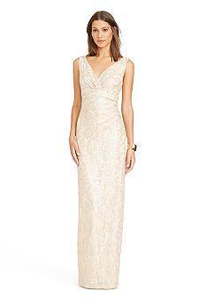 Lauren Ralph Lauren Sequined Lace Empire-waist Gown