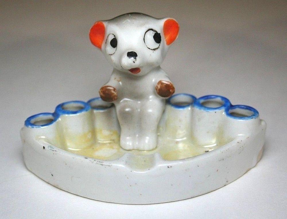 1930s Lustreware Snuffer Ashtray Gray Mouse Elephant Bear Vintage Japan Ceramics…