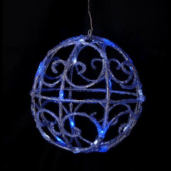 Boule de noel lumineuse acrylique 3D Blanc et Bleu, decoration