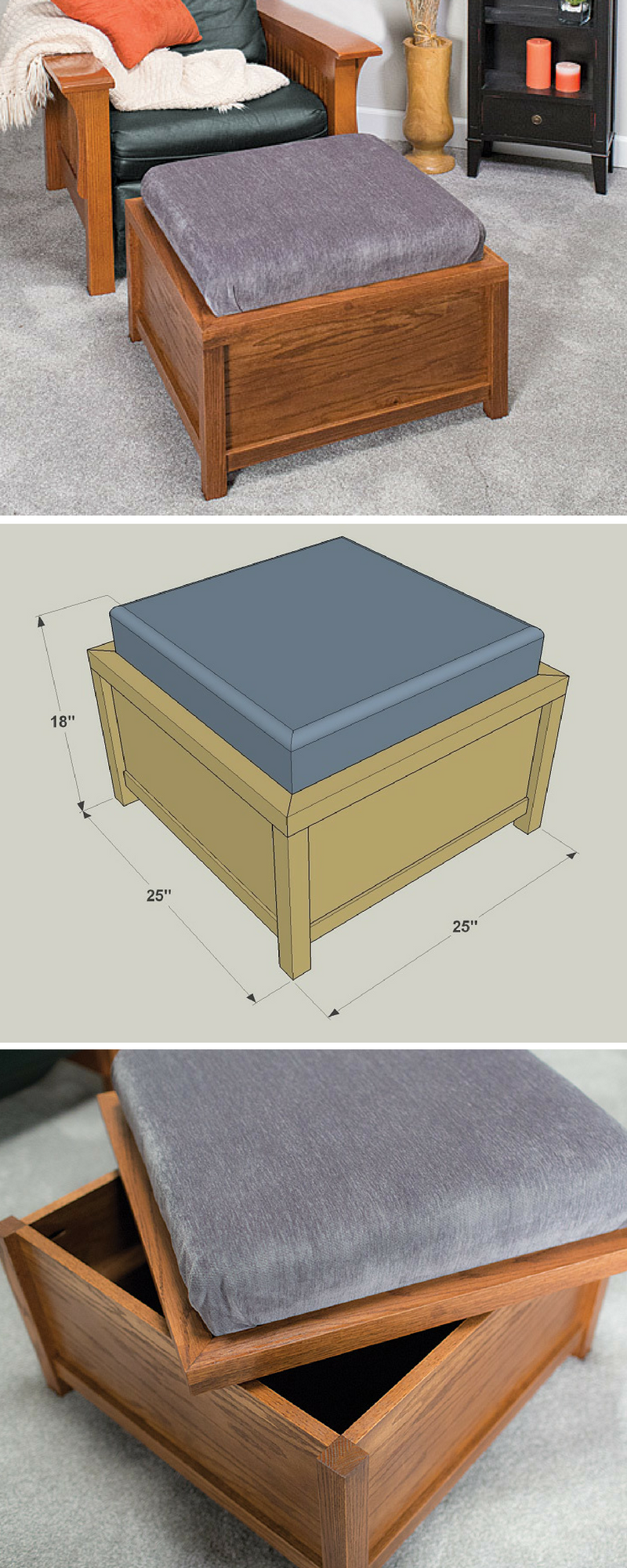 How to build a DIY Storage Ottoman Free printable project plans