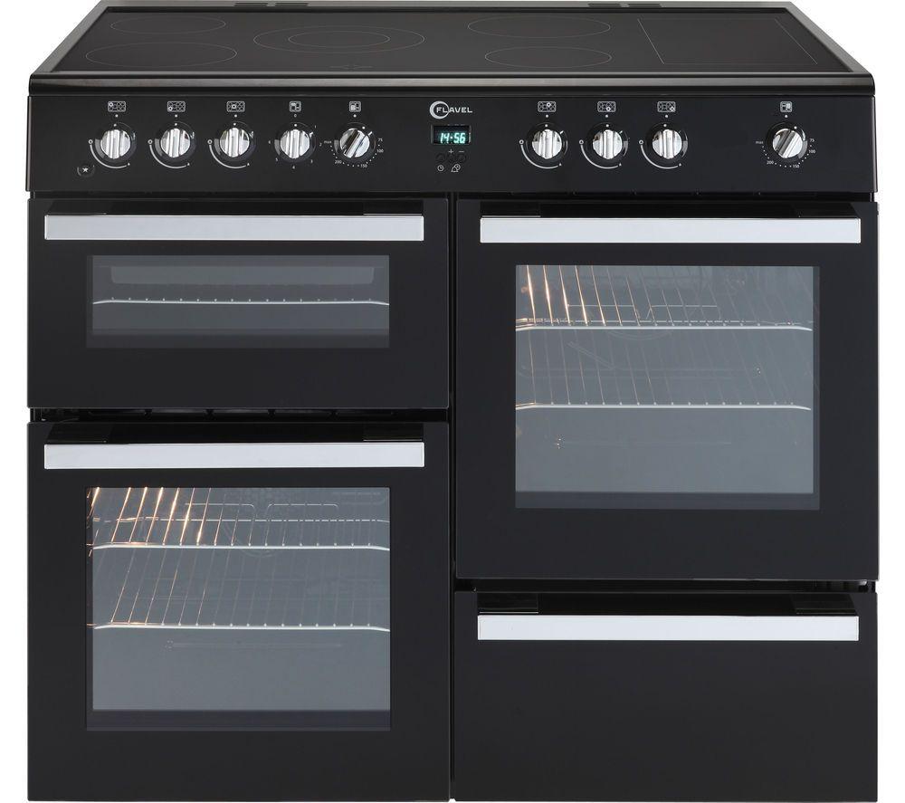 FLAVEL Milano 100 MLN10CRK Electric Range Cooker - Black & Chrome ...