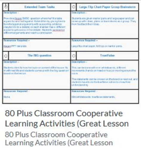 150 Afl and Cooperative learning ideas with Attainment tracker