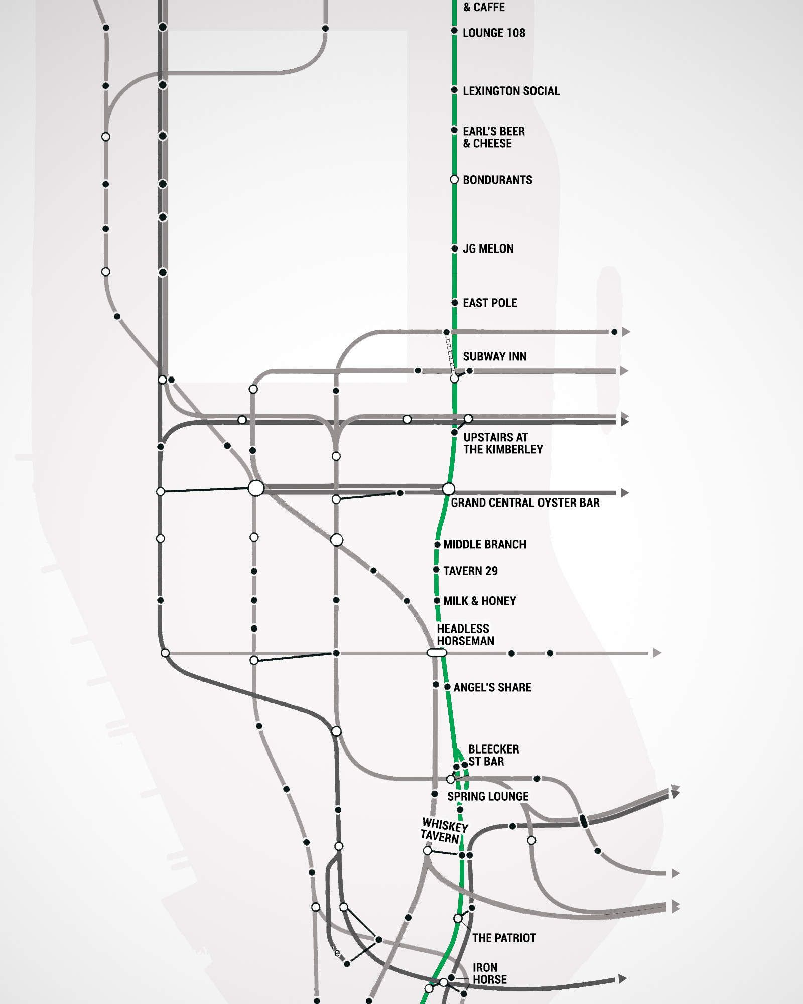 manhattans first ever subway bar map
