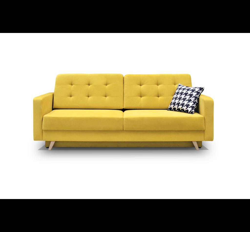 Żółta elegancka sofa do salonu 🛋 świetnie wpasuje się