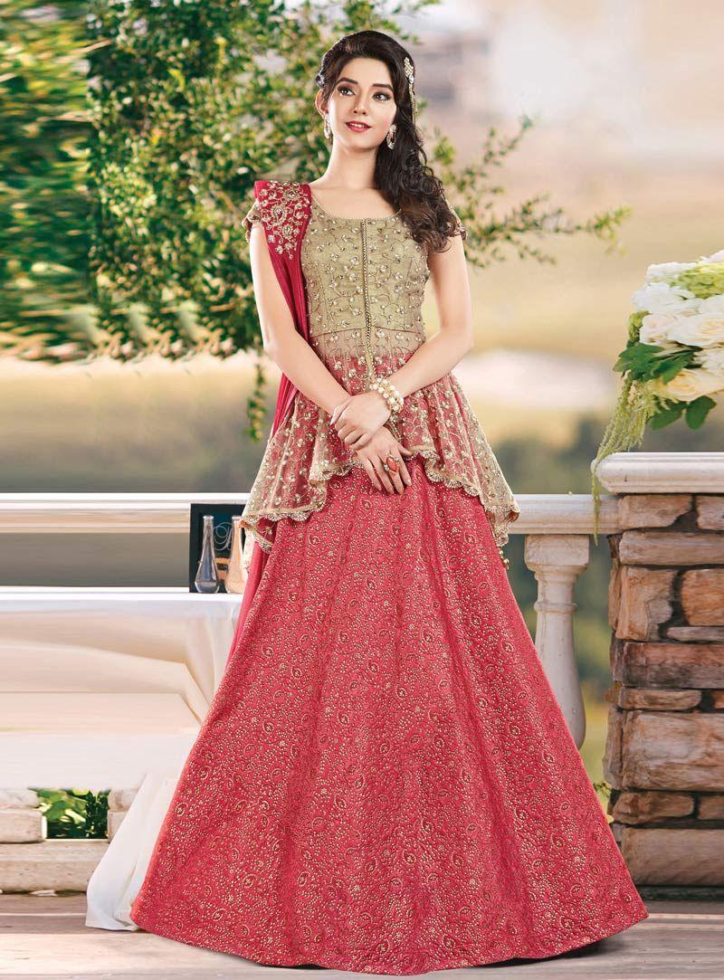 22991c2c50 Peach Silk Jacquard Designer Lehenga Choli 81063 in 2019 | Lehenga ...