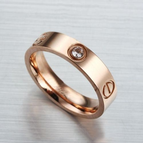 Replica S Cartier Wedding Rings Plated Rose Gold With Rhinestone From China