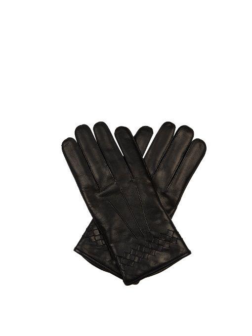 BOTTEGA VENETA Intrecciato-trimmed leather gloves. #bottegaveneta #gloves
