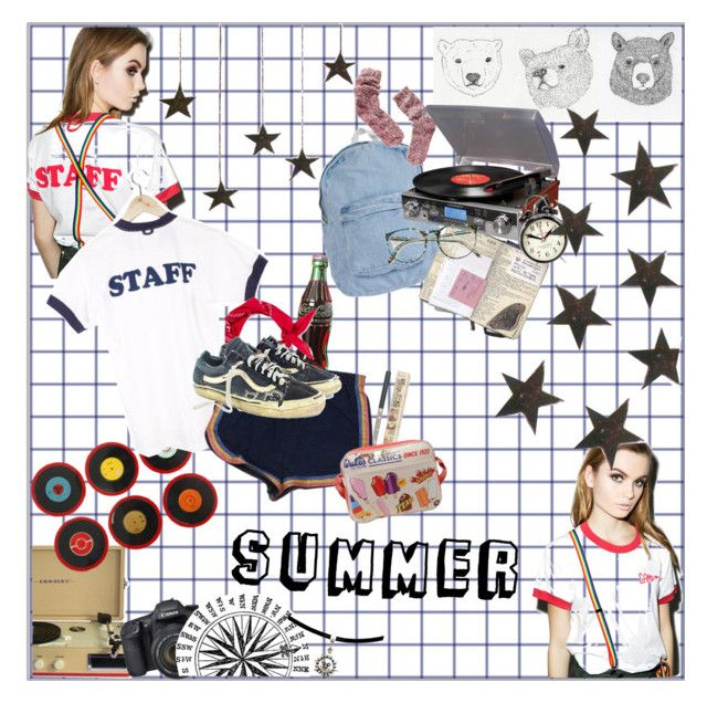"""summer daze"" by emma-545 ❤ liked on Polyvore featuring Camp Collection, TheBalm, Crosley, Ella Doran, Retrò, Topman, Vans, American Apparel, Madewell and Crosley Radio & Furniture"