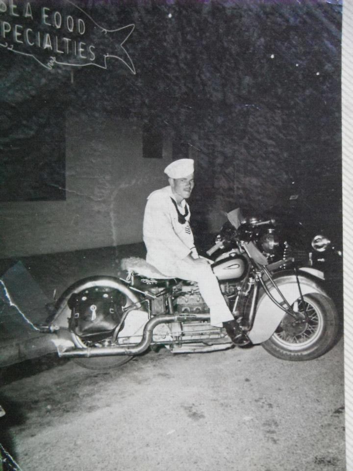 1941 Indian Four Motorcycle, photo from 1946, bike and uniform, sweet!