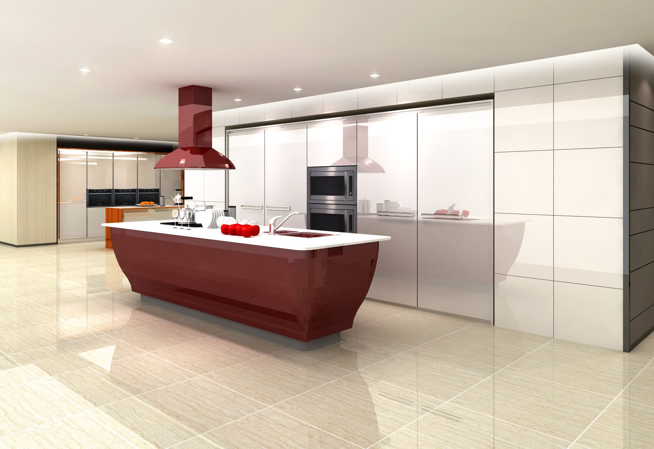 Classic Style Of Red Lacquer Kitchen Cabinet Kitchen Design Showrooms Kitchen Kitchen Design