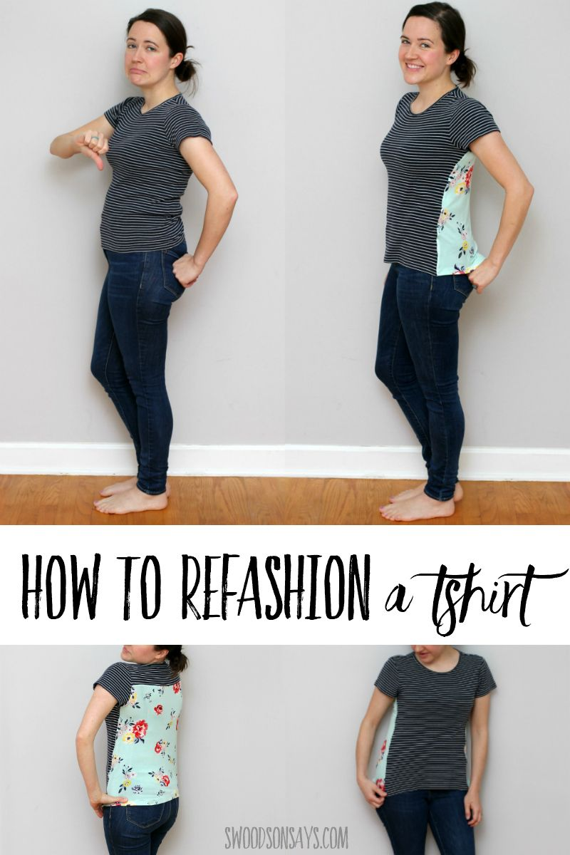 How to make a t shirt bigger with a back panel   Tshirt refashion ...