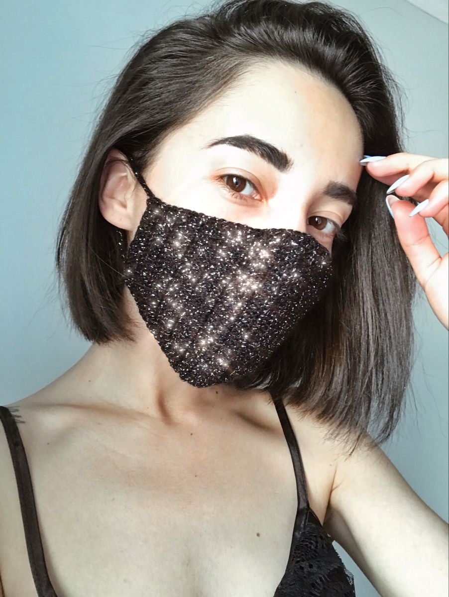 Black fashion washable reusable cloth face mask with