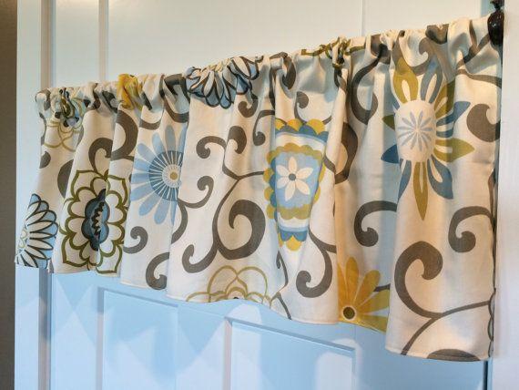 Waverly Home Decor Brown Blue Yellow Pom By Curtainsbychandra Custom Valances