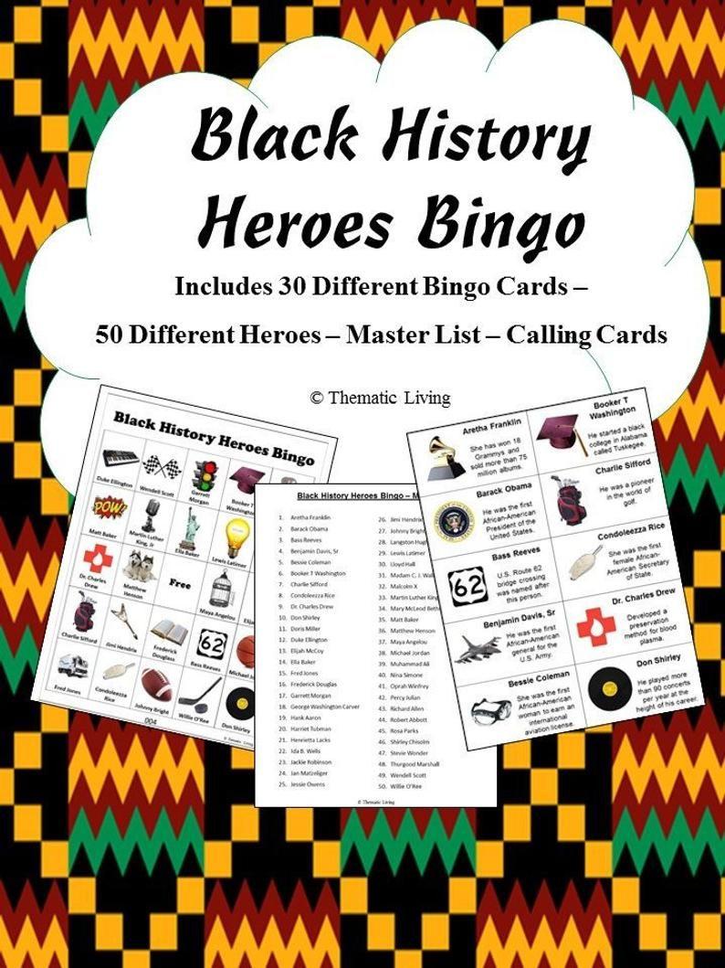 30 Black History Heroes Bingo Black History Bingo Etsy In 2021 Black History Month Activities Black History Activities History Heroes