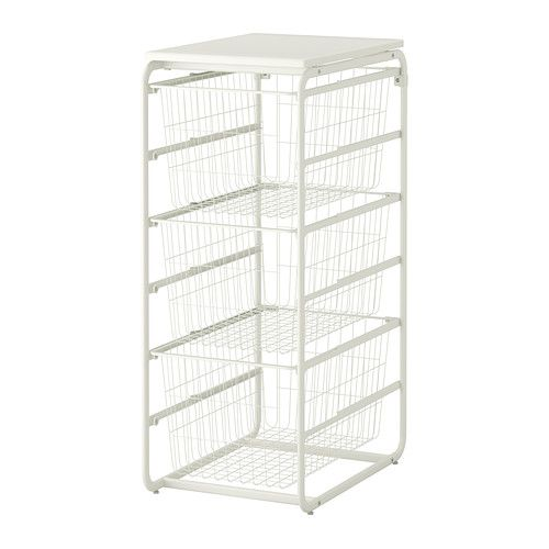 ALGOT Frame with 3 wire baskets/top shelf, white