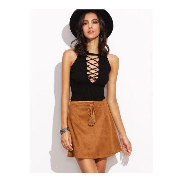 SheIn(sheinside) Camel Faux Suede Tassel Tie A-Line Skirt (£11 ...