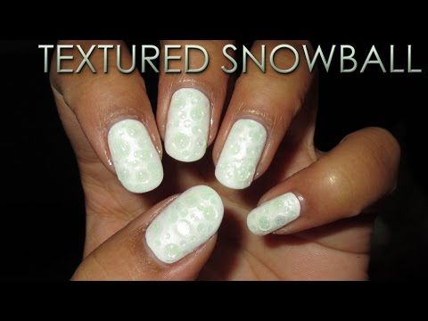 12 Days of Christmas | Textured Snowball | DIY Nail Art Tutorial - YouTube