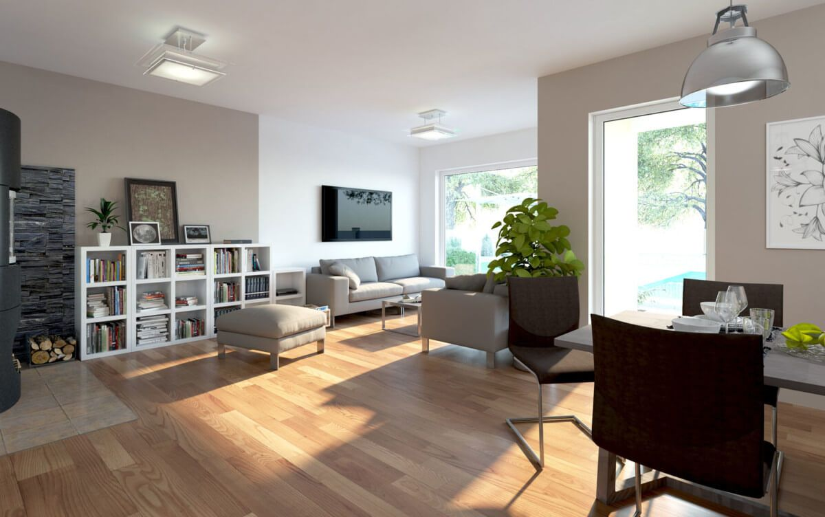 Wohnidee Fertighaus Bungalow innen Interior Design Haus