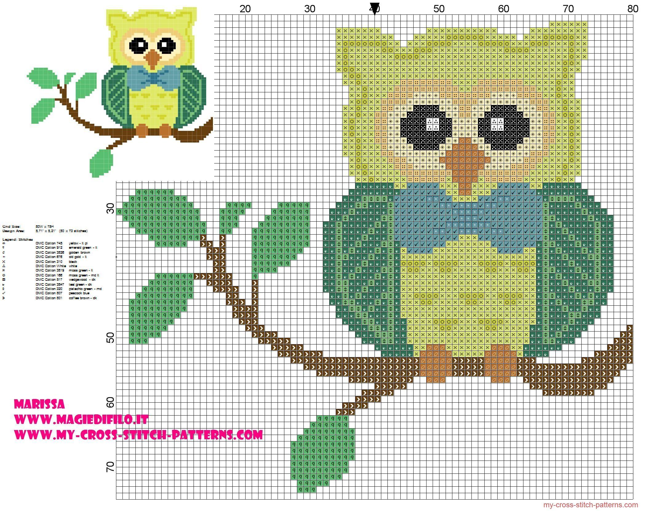 patrón punto de cruz de búho en rama con pajarita | bebe | Pinterest ...