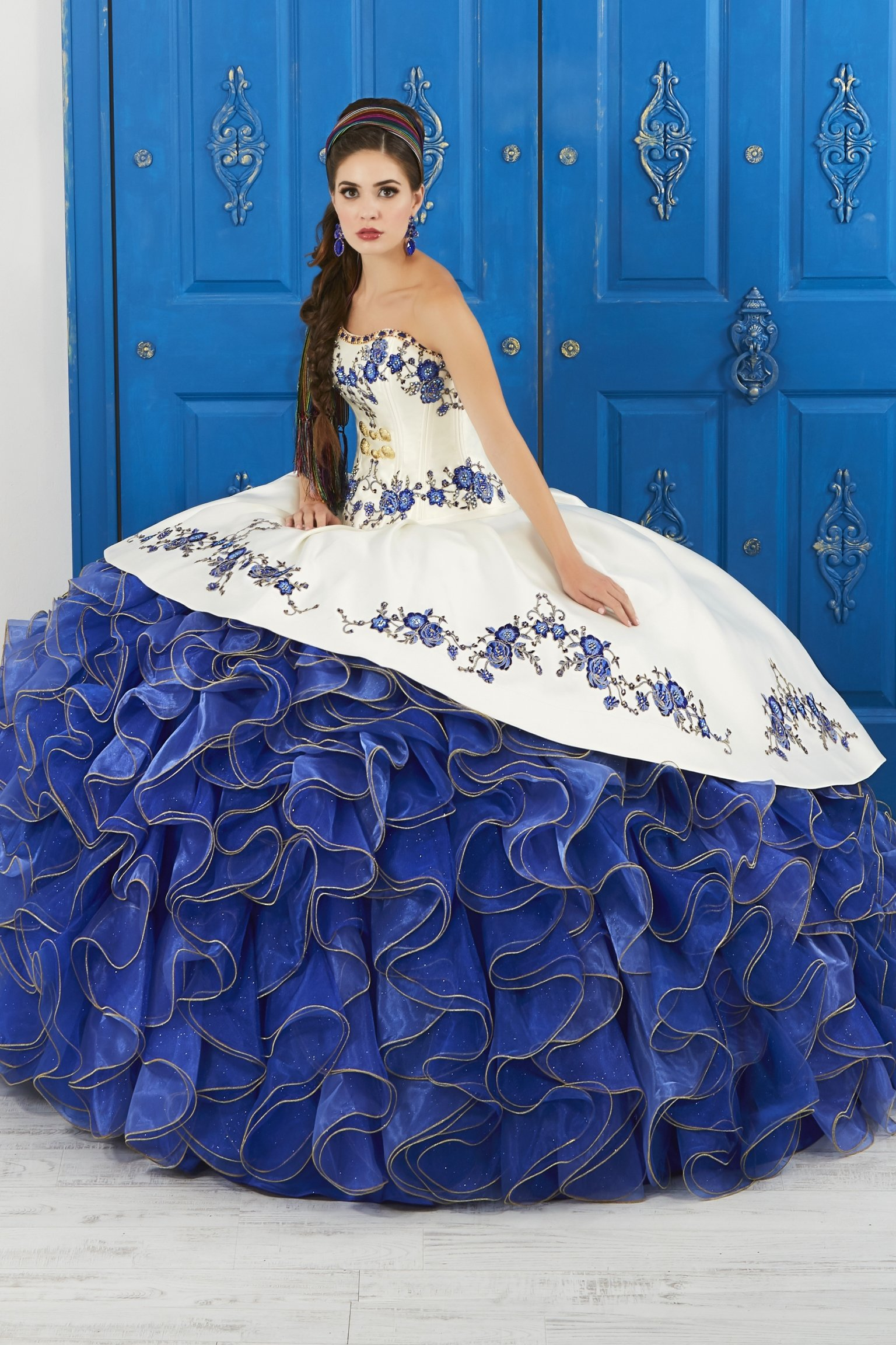 afe39c9078 Ivory Blue Strapless Floral Charro Dress by House of Wu LA Glitter 24042