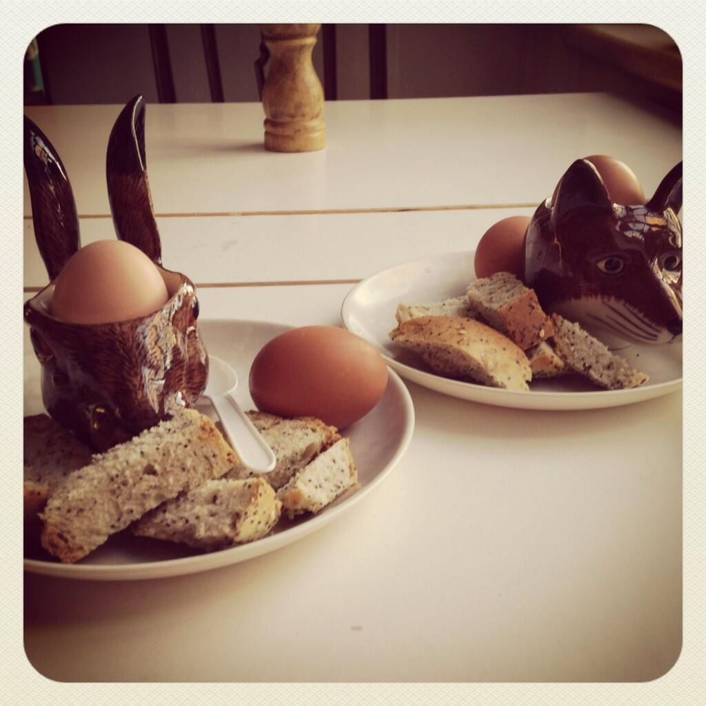"""Home buyer @Liberty_SarahH has her eggs with foxes and hares """"First breakfast in my new flat! Using my Quail egg cups for the first time too!"""""""