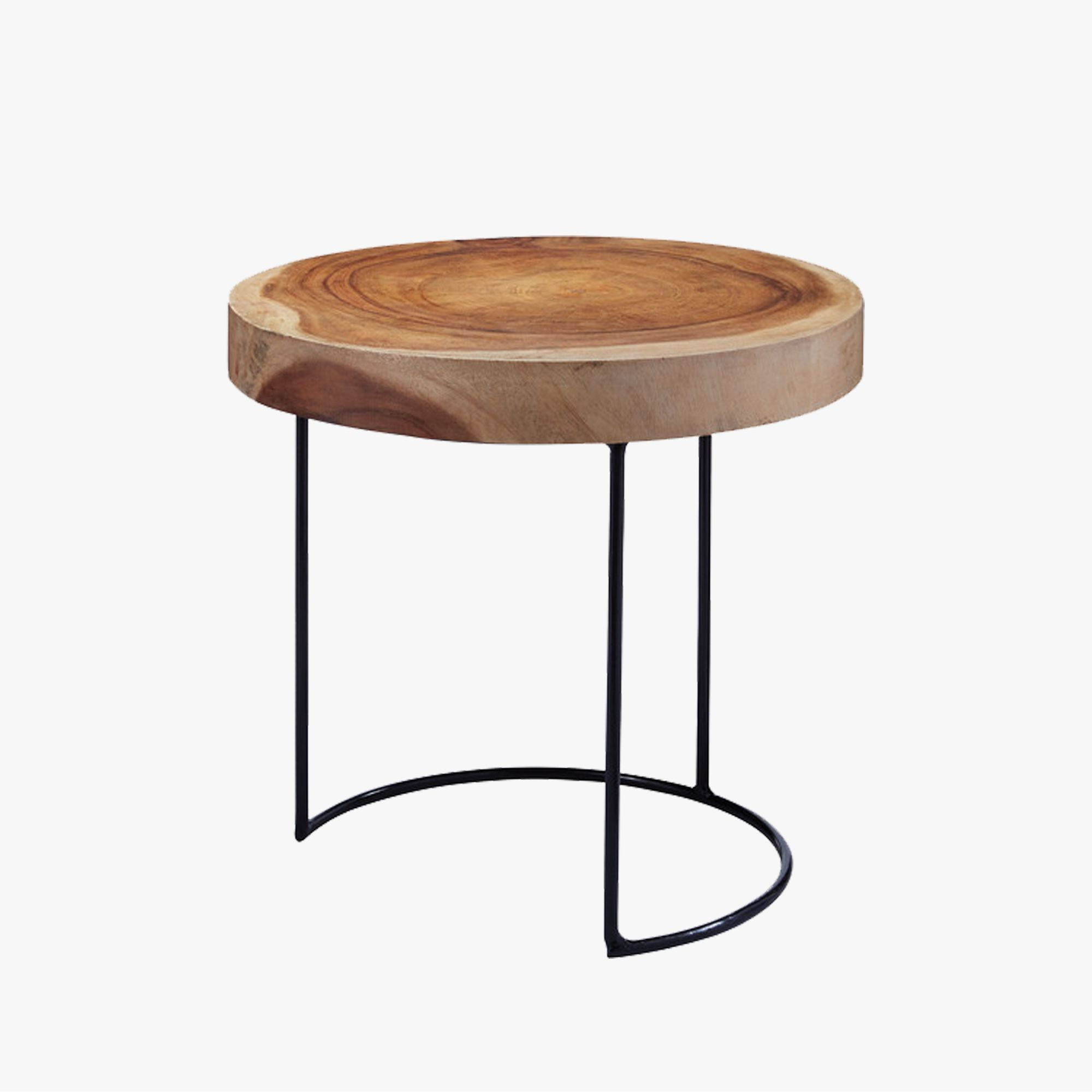 This Round Suar Wood Accent Table With Iron Legs Adds An Organic Vibe To  Any Space. The Beautiful Wood Grain Is Juxtaposed With A Simple Curved Iron  Base.