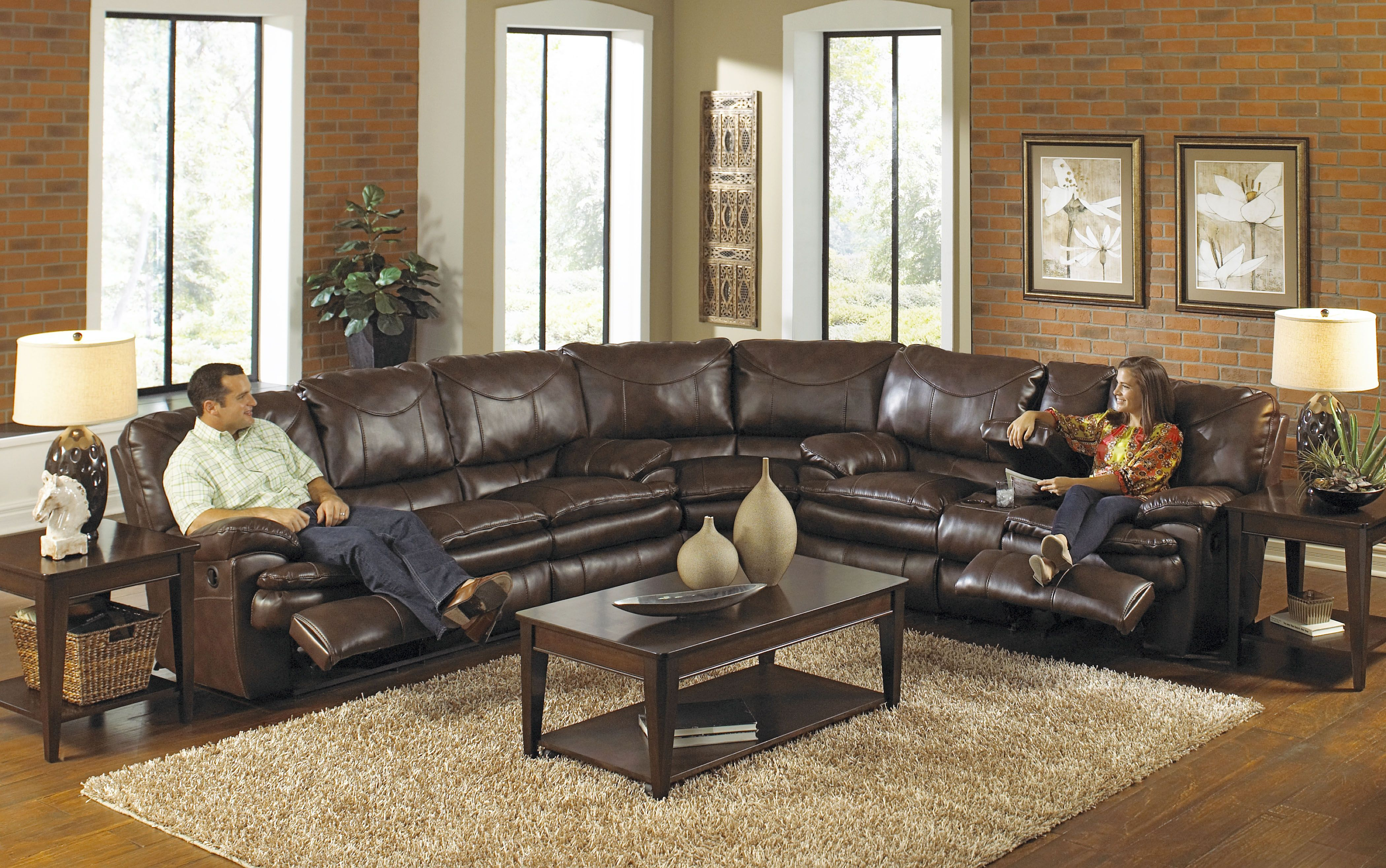 Contemporary Leather Sectional Sofa With Recliner Oversized