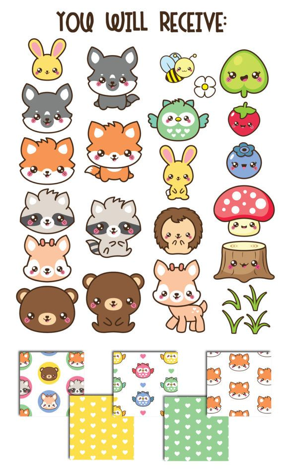 Woodland Clipart Spring Clipart Woodland Animals Clipart Etsy In 2021 Cute Doodles Drawings Kawaii Animals Kawaii Doodles