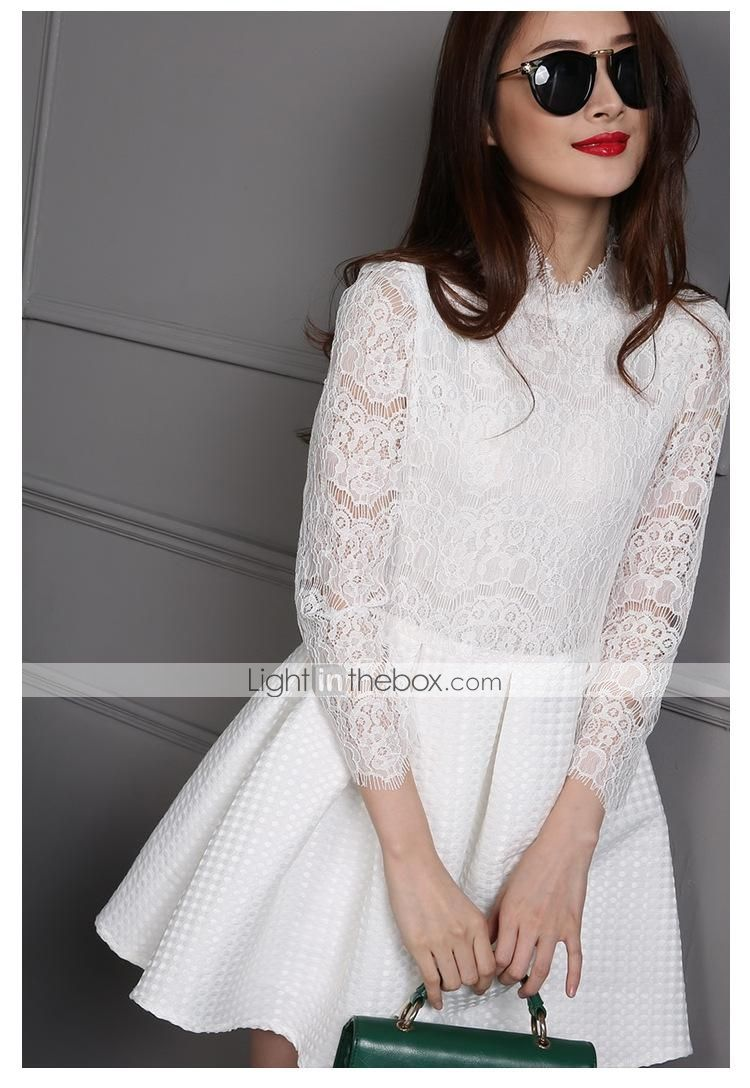 Women's Round Collar Seven Quarters Sleeve Solid Color Lace Dress - USD $ 77.99