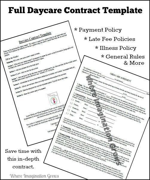 Full  Complete Daycare Handbook/Contract Template Child Daycare