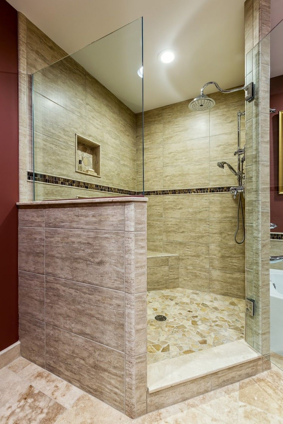 Glass Mosaic Tile Bathroom Ideas With Cream Stone Bathroom Flooring ...