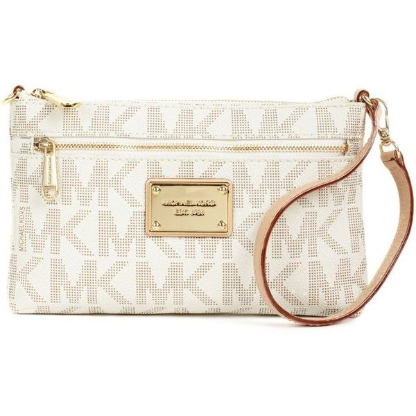 9e949d159418 Michael Michael Kors Mk Logo Large Wristlet (375 ILS) ❤ liked on Polyvore  featuring bags, handbags, clutches, purses, wallet, handbags purses, michael  kors ...