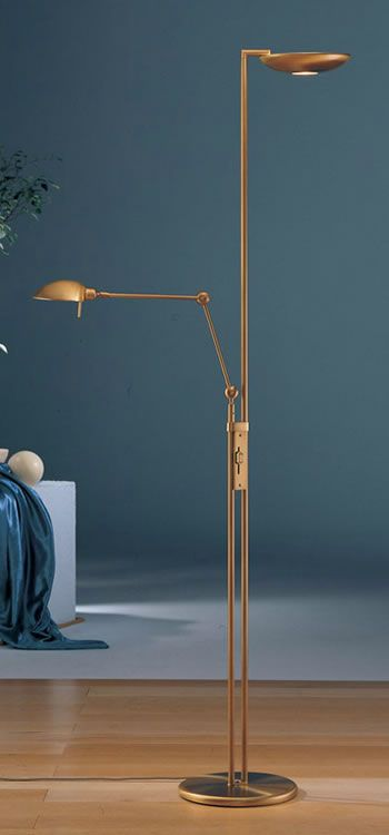 2501 Ab Holtkotter Halogen Torchiere With Side Arm Reading Light Modern Floor Lamps And Torchieres