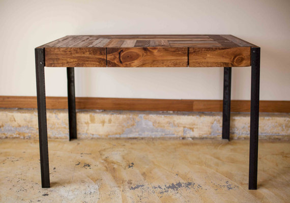 Pallet Wood Desk With Metal Legs And Two Drawers By Kensimms