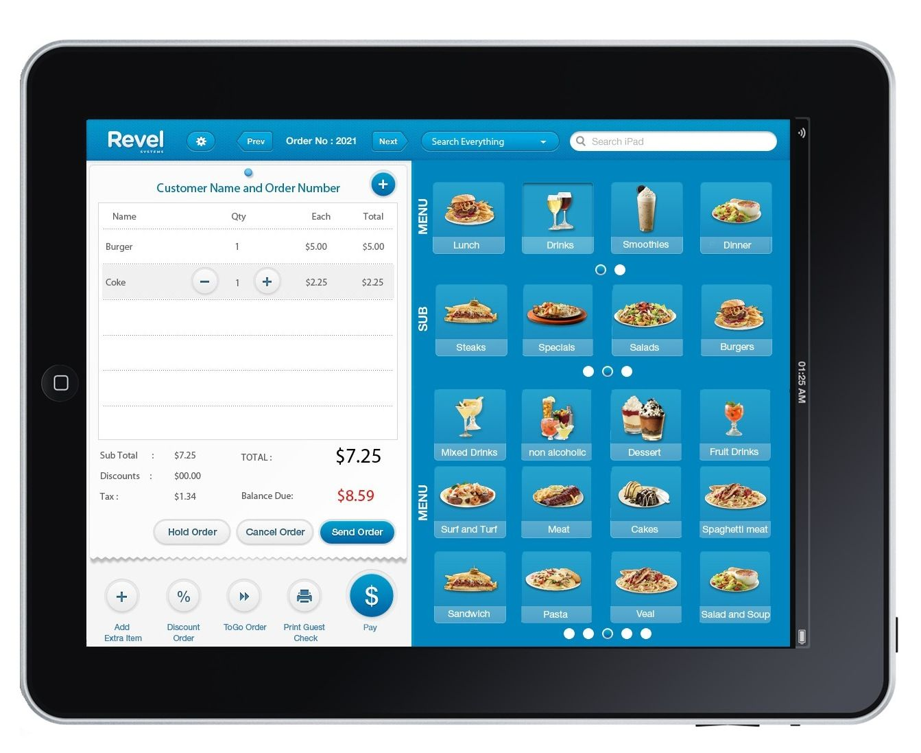 Revel Systems iPad Order Screenshot Point of sale, Pos