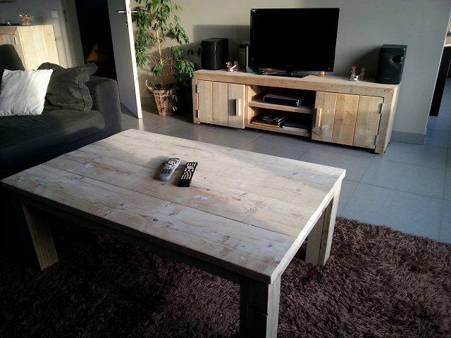 tv-meubel van steigerhout, model hoorn. http://wwwubels-van, Deco ideeën