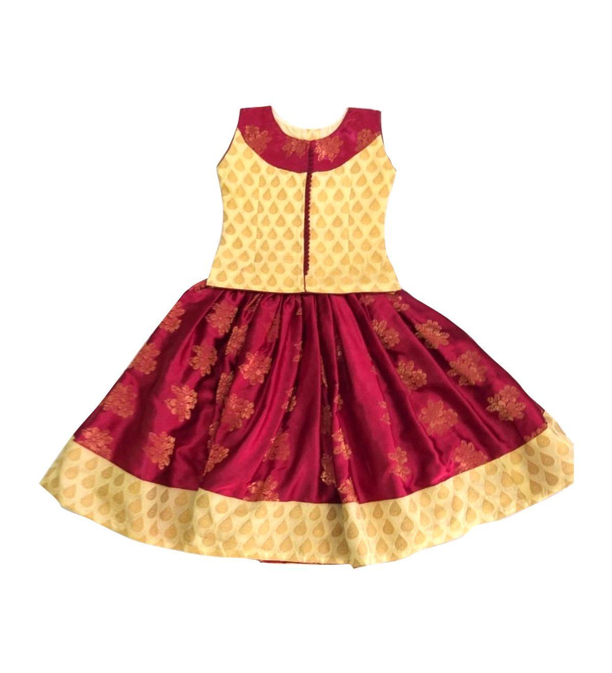 Pattu Pavadai Baby Girls Kids Designer Fancy Langa Maroon Cream 6 Months To 10 Years Pattupavadai Lehenga Kids Blouse Designs Kids Frocks Kids Lehenga
