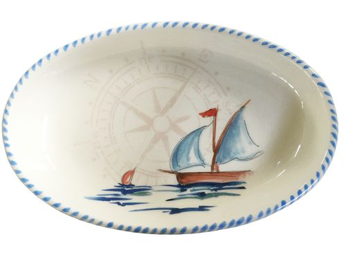 """Colorful, unique Italian nautical serving pieces for your beach or lake home dining experience, the Sailboat 10"""" x 7"""" Oval Serving Bowls will be the highlight of your table."""